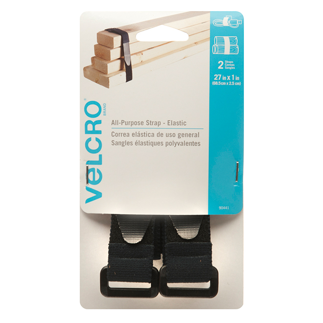 "VELCRO® All-Purpose Elastic Straps - 1"" x 27"" - Black - 2PK"