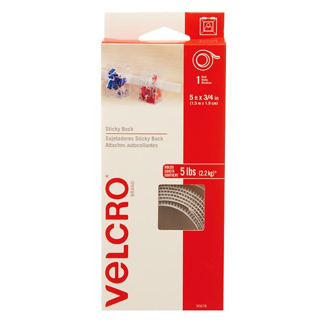 "VELCRO® Brand Tape - Self-Adhesive - 5' x 3/4"" - White"
