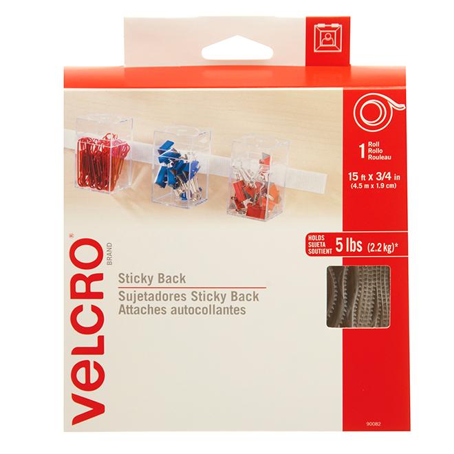 "VELCRO® Brand Tape - Self-Adhesive - 15' x 3/4"" - White"