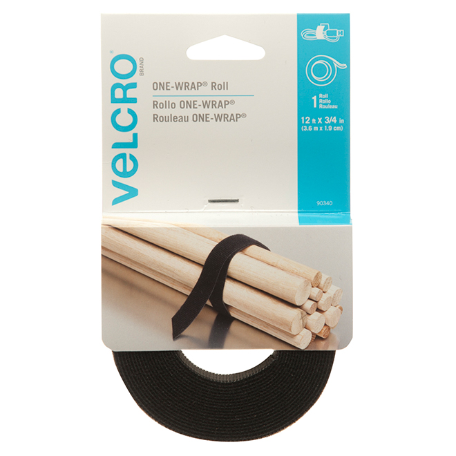"Courroie VELCRO(MD) ONE-WRAP(MD), 12' x 3/4"", noir"