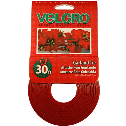 """VELCRO® Garland Tie - 1/2"""" x 30' - Red"""