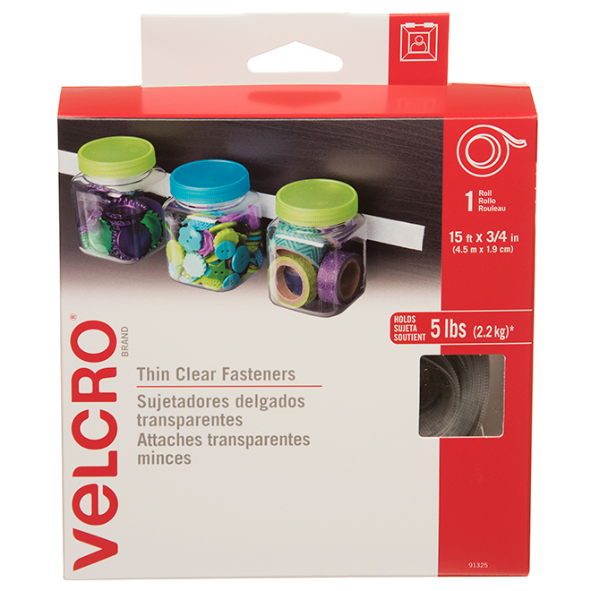"VELCRO® Brand Tape - 15' x 3/4"" - Clear"