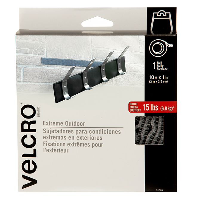 "VELCRO® Tape for Exterior Use - 1"" x 10' - Grey"