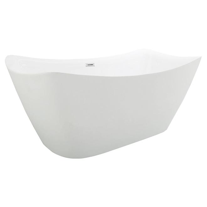 Bain autoportant rectangulaire, coins arrondis, blanc