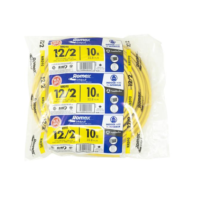 Fil électrique Romex pour bâtiment résidentiel NMD90, 12/2, 10 m