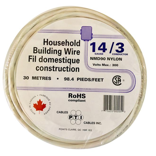 Fil électrique Romex pour bâtiment résidentiel NMD90, 14/3, 30 m