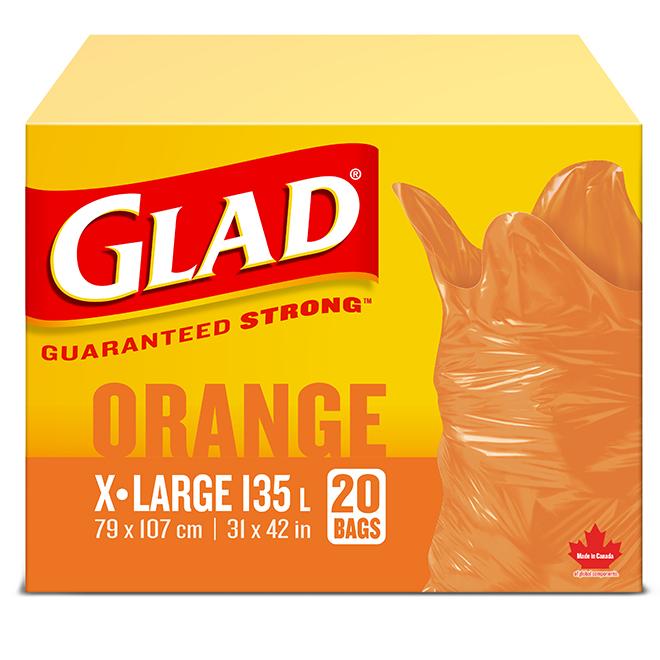 """Garden Garbage Bags - Extra-Large - 31"""" x 42"""" - Orange - 20/PK"""