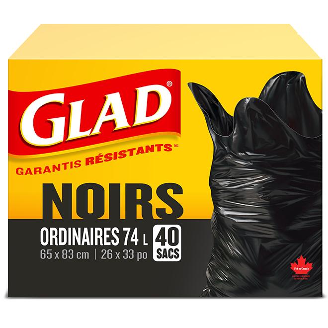 Sacs à ordures réguliers à attache facile GLAD, boîte de 40