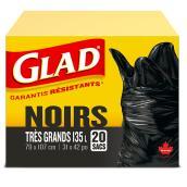 Sacs à ordure très grand en plastique, noir, 31'' x 42''