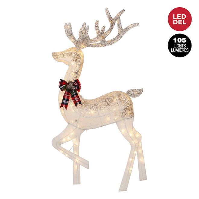 Danson Lighted Deer - 105 LED Lights - 60-in - White and Gold