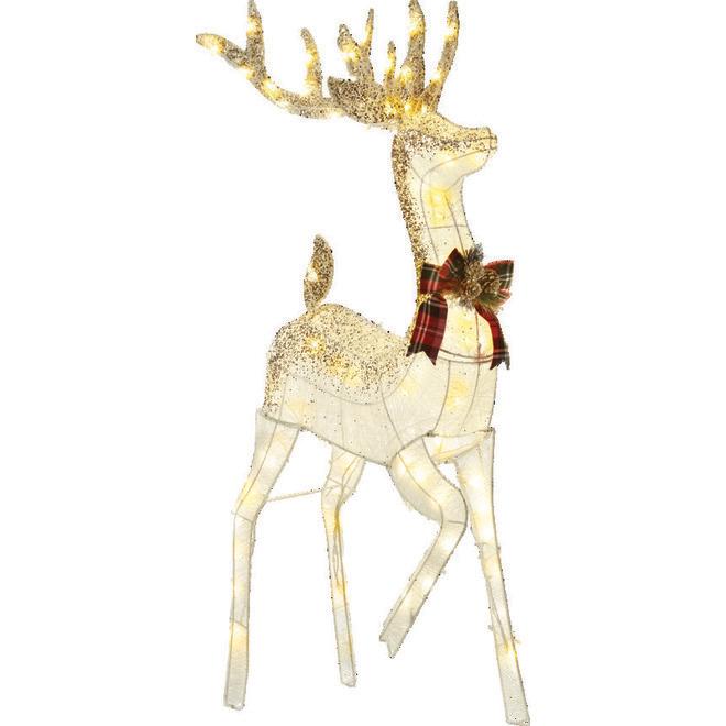 Cerf illuminé Danson, 105 lumières DEL blanc chaud, 60  x 26 x 52 po, blanc et or
