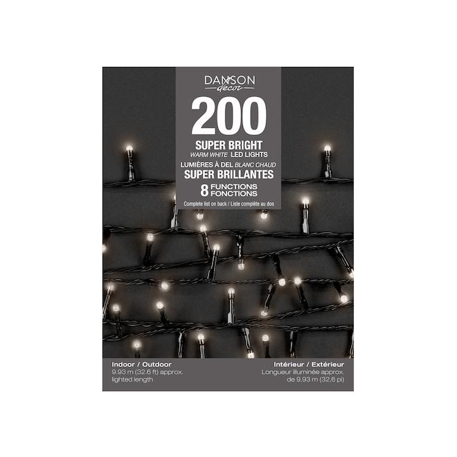 Danson Decor 8-Function Light Set - 200 LED Lights - 33-ft - Indoor/Outdoor - Warm White