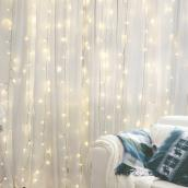Holiday Living 300-Count Warm White LED Electric Indoor/Outdoor Christmas Curtain String Lights