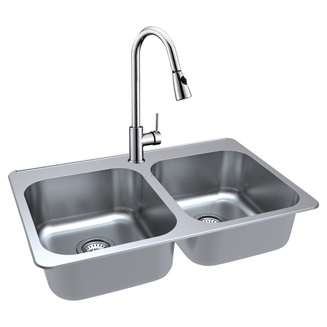 Double Kitchen Sink With Faucet   Stainless Steel
