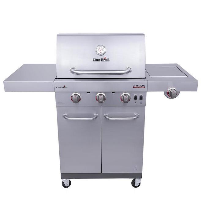 Barbecue Char-Broil Commercial propane/gaz naturel, 25 500 BTU, 3 brûleurs, acier inoxydable