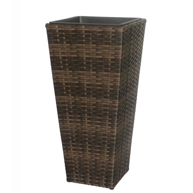 Wicker Planter - 24-in Brown and Grey