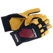 Work Gloves - Leather - Black and Yellow - L