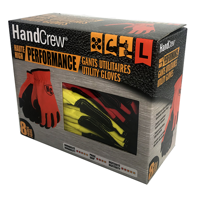Work Gloves - All Purpose - Synthetic Leather - L - 8/Pk