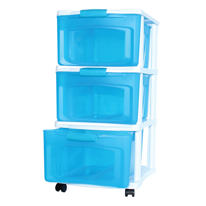 Stackable Storage Drawer   Medium   White/Blue