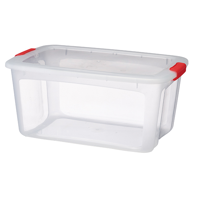Storage Tote with Locking Lid - 51.1L - Clear/Coral