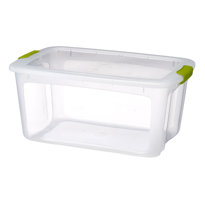 Storage Tote with Locking Lid - 51.1 L - Clear/Green