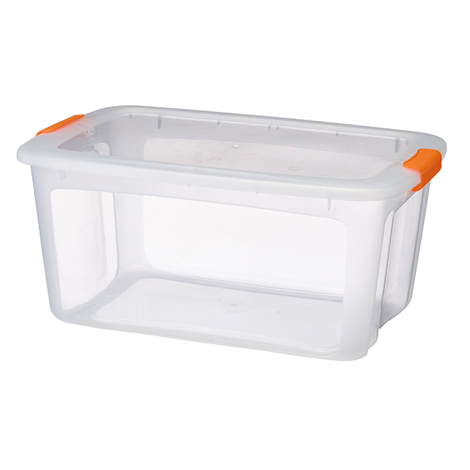 Storage Tote with Locking Lid - 51.1 L - Clear/Orange
