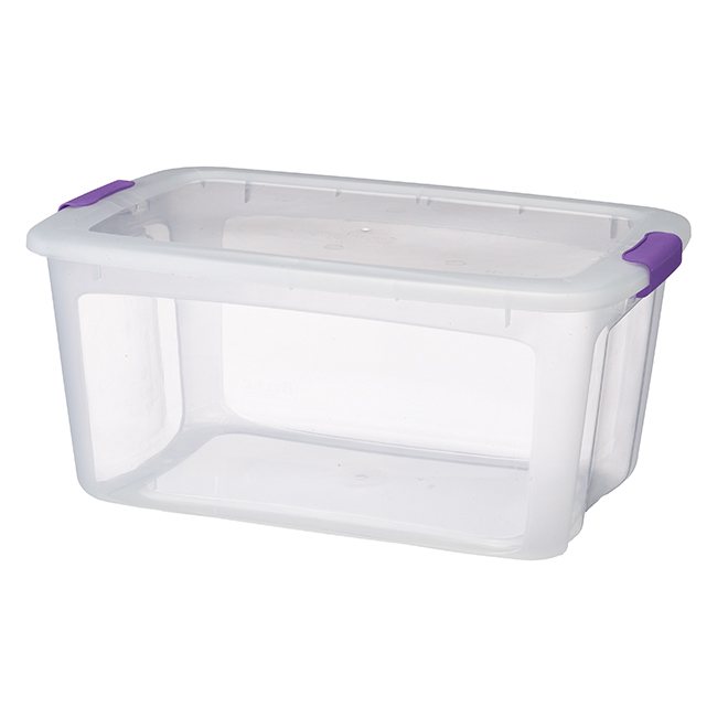 Storage Tote with Locking Lid - 51.1 L - Clear/Purple