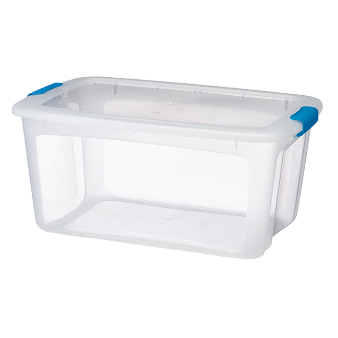 Storage Tote with Locking Lid - 51.1 L - Clear/Teal