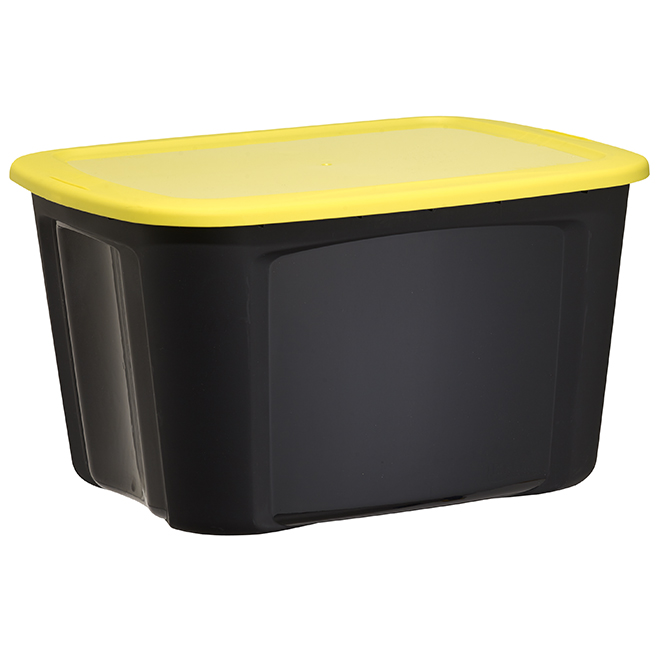 Storage Bin with Locking Lid - 68.1 L - Black and Yellow