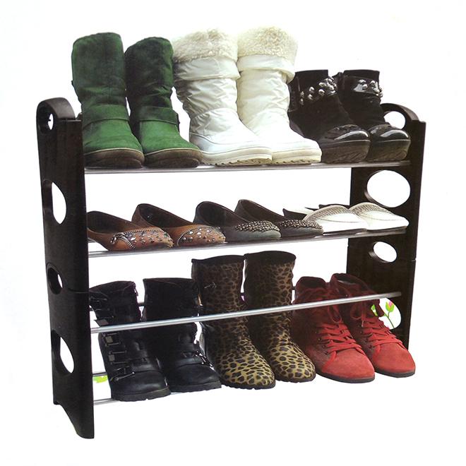 """4-Tier Shoe Rack - Plastic/Metal - 25"""" x 8"""" x 24"""" - Black"""