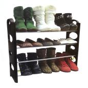 "4-Tier Shoe Rack - Plastic/Metal - 25"" x 8"" x 24"" - Black"