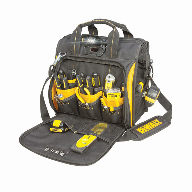 Tool Bag with Integrated Light - 41 Pockets - Black and Yellow