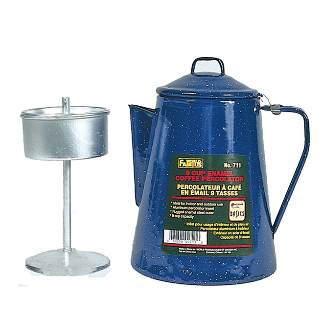 Enamel Coffee Pot with Percolator Insert - 9 Cup
