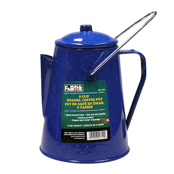 Pot à café à email, bleu, 9 tasses
