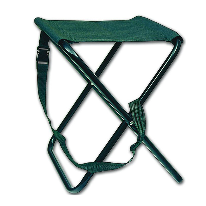 Folding Camping Stool - Stainless Steel Legs - 15 1/2""