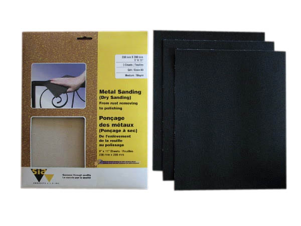 """Papiers abrasifs pour métal, grain120, 9"""" x 11"""", 3/pqt"""