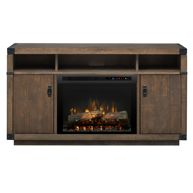 """Electric Fireplace with Wood Furniture - 59.38"""" - Brown"""