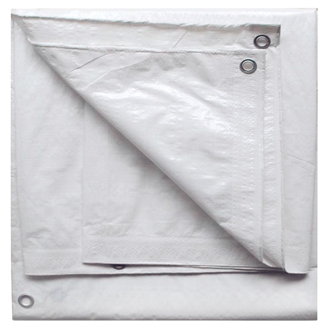 Project Source - Tarpaulin - Polyethylene - 10 ft x 12 ft - White