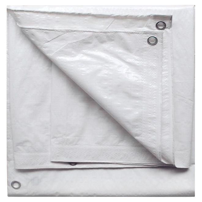 Bâche en polyéthylène, blanc - 15 pi x 20 pi