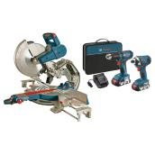 Dual-Bevel Glide Miter Saw with 18V 2-Tool Combo Kit - 12''