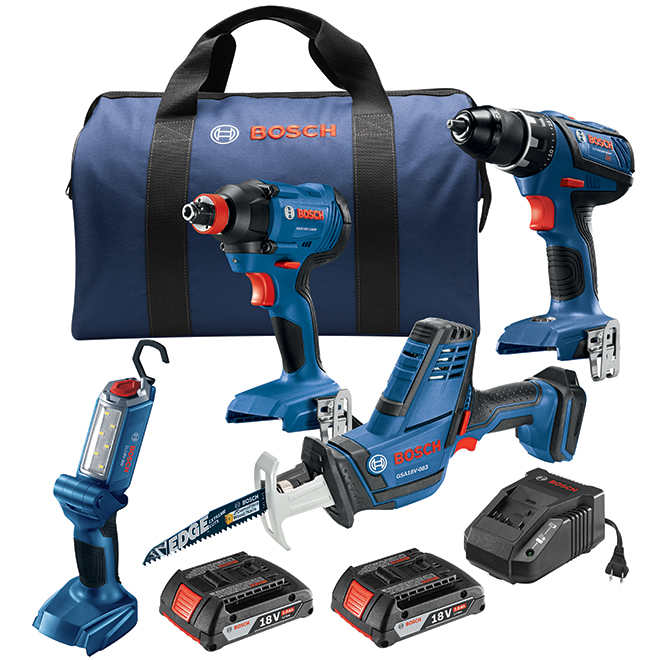 4 Cordless 18 V Tools Kit - 2 Batteries and 1 Charger