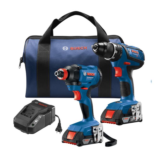 Ensemble de 2 outils sans-fil Bosch, CORE18V lithium-ion, moteur sans balais