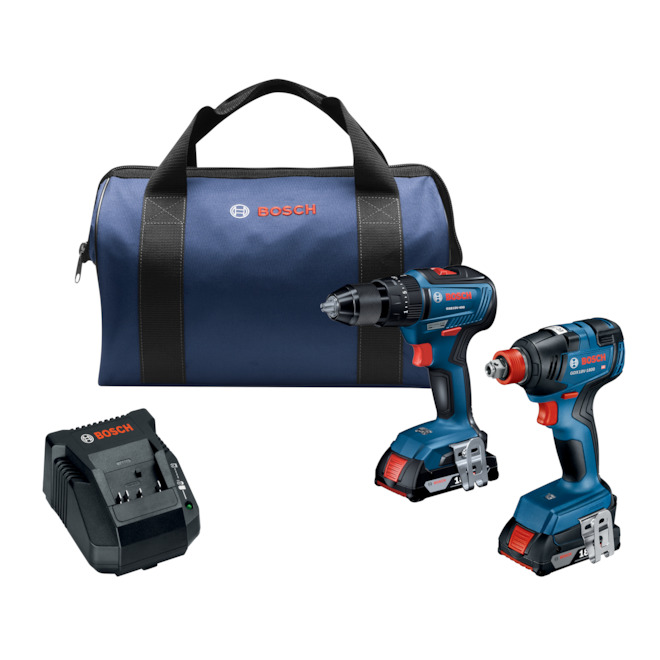 Bosch Cordless Impact Driver and Hammer Drill Set with Batteries - 18 V