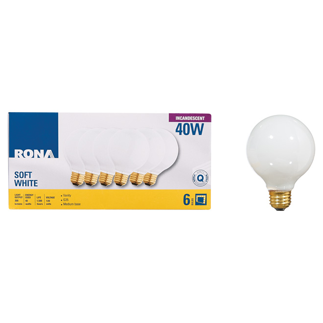 Incandescent Spherical Bulb - G25/40W - 6/Pack - White