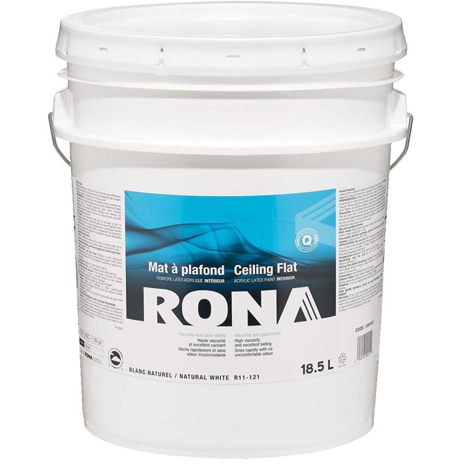 RONA Interior Ceiling Paint - Latex - 18.5 L - Flat Finish - Natural White