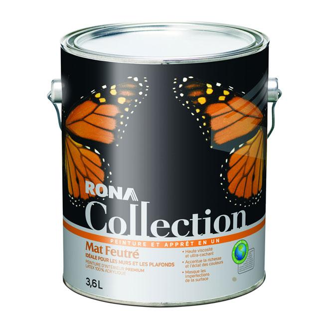 Peinture et apprêt RONA Collection, latex 100% acrylique, mat feutré, 3,6 L, base moyenne
