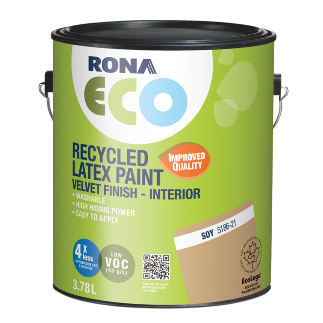 RONA ECO Recycled Interior Paint - Latex - 3.78 L - Velvet Finish - Soy