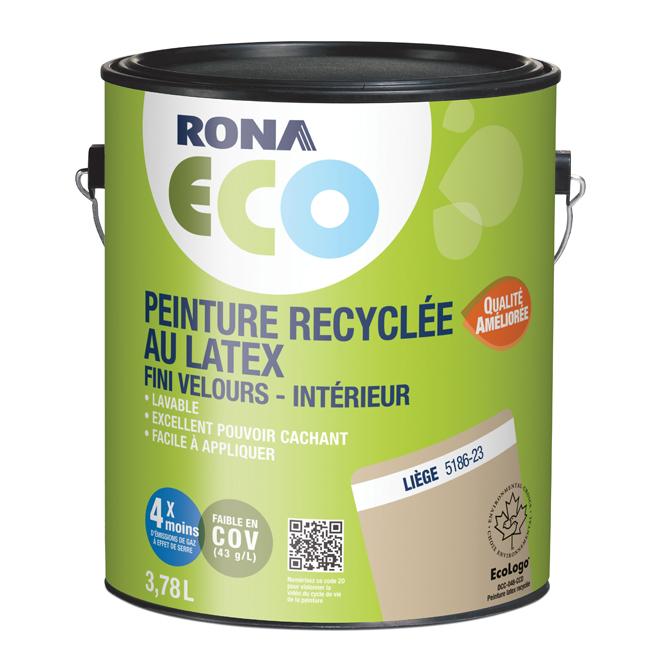 Peinture d'intérieur recyclée RONA ECO, latex, 3,78 l, fini velours, liège