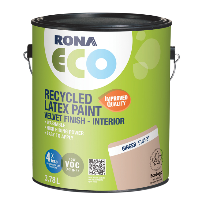 RONA ECO Recycled Interior Paint - Latex - 3.78 L - Velvet Finish - Ginger