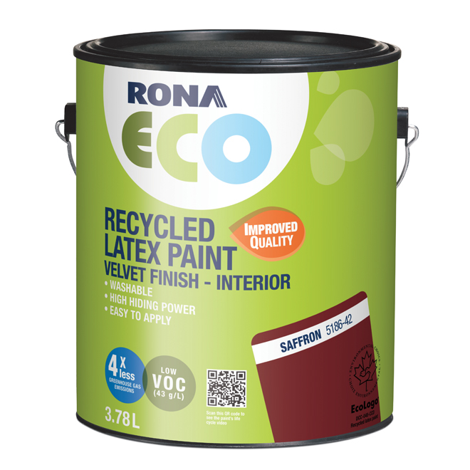 RONA ECO Recycled Interior Paint - Latex - 3.78 L - Velvet Finish - Saffron